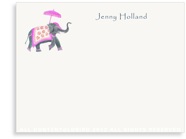 Festive Elephant - Fushia/Orange - Flat Note Cards