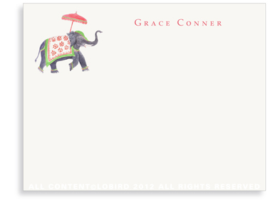 Festive Elephant - Green/Red - Flat Note cards