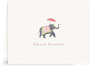 Festive Elephant - Green/Red - Folded Note Cards
