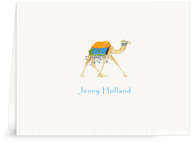 Festive Camel - Aqua Blue -Folded Note Cards