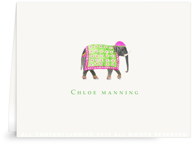 Festive Elephant with Floral Tapestry- Fuchsia  -Folded Note Cards