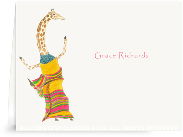 Dancing Giraffe - Folded Note Cards