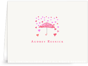 Umbrella - Raining Hearts - Folded Note Cards