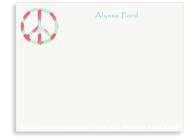 Ikat Peace Sign - Flat Note Cards