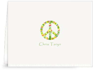 Rasta Peace Sign - Folded Note Cards