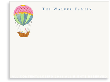 Hot Air Balloon with Easter Rabbit - Flat Note Cards