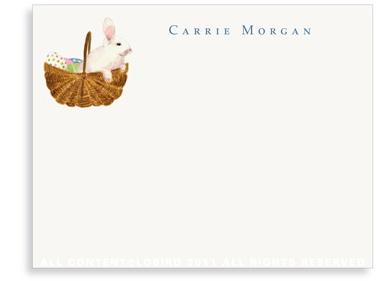 Bunny in Easter Basket - Flat Note Cards