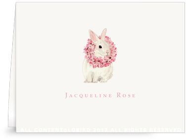 White Rabbit with Magnolia Wreath - Folded Note Cards