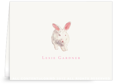 White Rabbit -Folded Note Cards