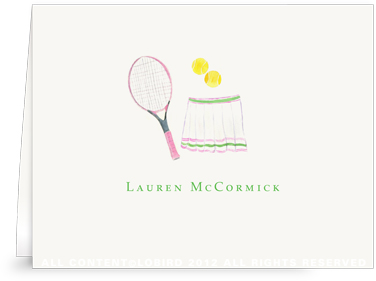 Pink Tennis Racket with Skirt - Folded Note Cards