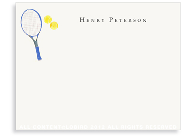 Blue Tennis Racket - Flat Note cards