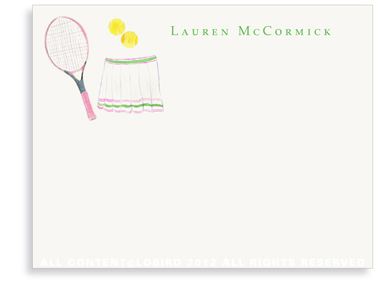 Pink Tennis Racket with Skirt - Flat Note cards
