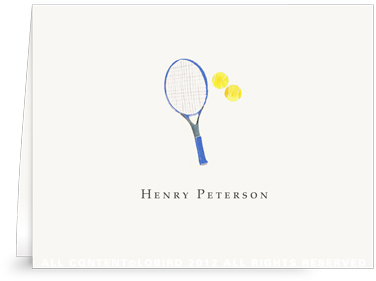 Blue Tennis Racket - Folded Note Cards