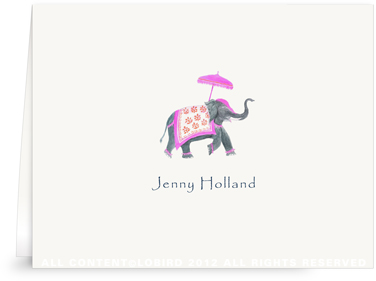 Festive Elephant - Fuchsia/Orange - Folded Note Cards