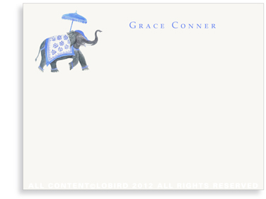 Festive Elephant - Blue/White - Flat Note cards
