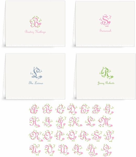 French Vine Monogram - Folded Note Cards