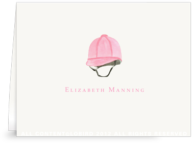 Pink Riding Helmet - Folded Note Cards