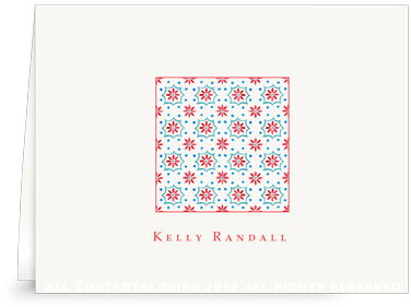 Talavera Tile - red/turquoise - Folded Note Cards