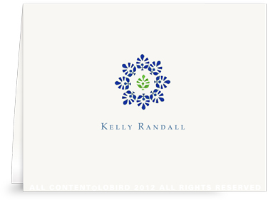 Block Print Flower - Midnight Blue/Green - Folded Note Cards