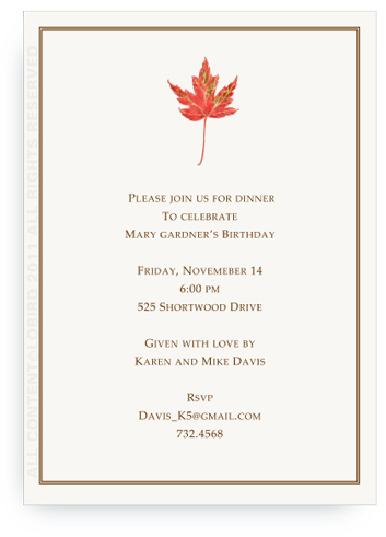 Rustic Red Autumn Leaf - Invitations