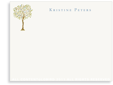 Italian Blue Fruit Tree - Flat Note cards