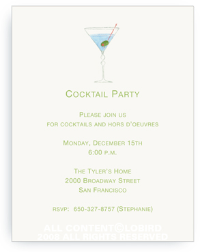 Blue Martini - Invitations