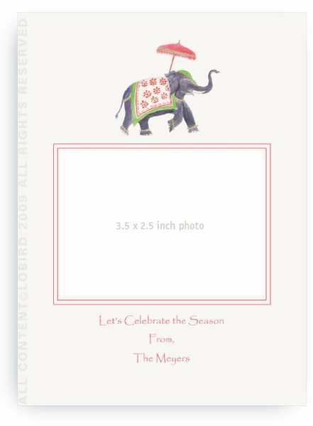 Festive Elephant Green and Red - Photo Greeting Cards