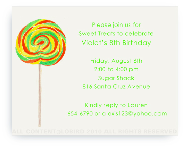 Swirl Lollipop - Green/Orange - Invitations