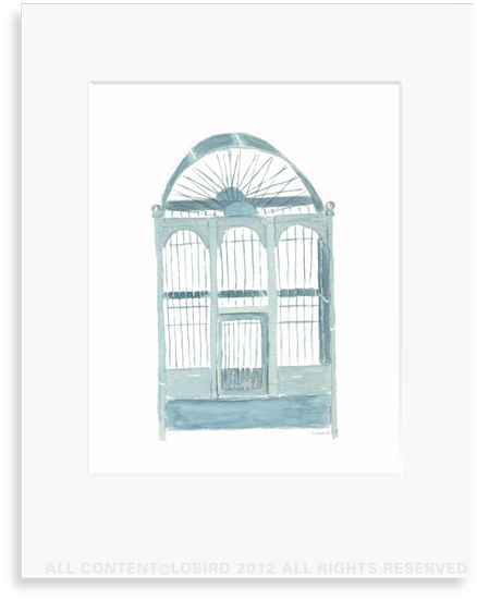 Blue English Bird Cage- 8 x 10 Print in 11 x 14 Mat