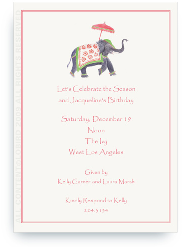 Festive  Elephant - Green & Red - Invitations