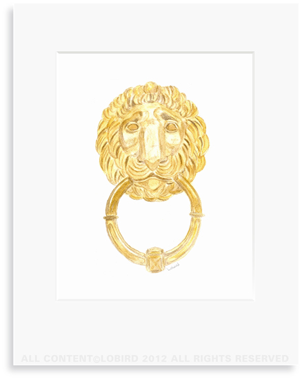 Parisian Lion Knocker - 8 x 10 Print in 11 x 14 Mat