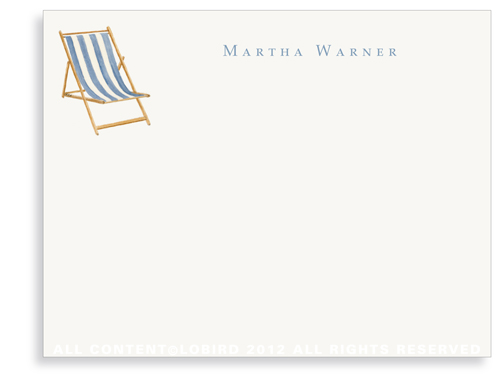 Beach Chair - Blue - Flat Note Cards