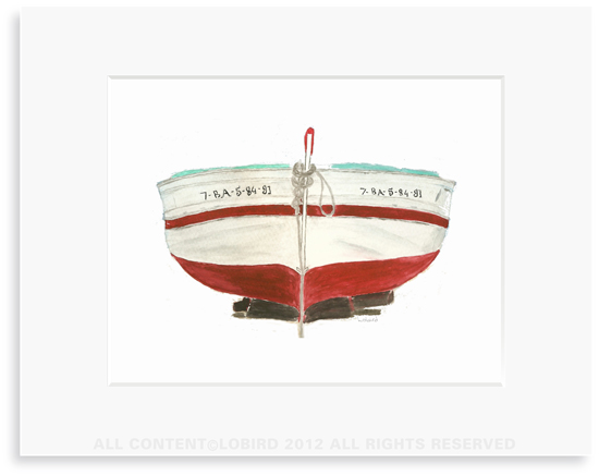 Red Spanish Boat- 8 x 10 Print in 11 x 14 Mat