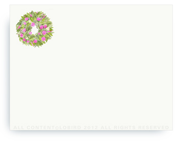"Spring Wreath - Non-Personalized Note Cards (4.25"" X 5.5"")"
