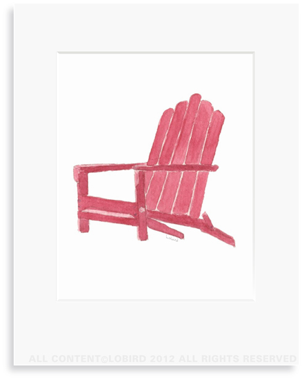 Beach Adirondack Chair - 8 x 10 Print in 11 x 14 Mat