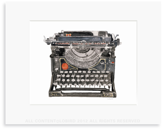 Antique Typewriter - 8 x 10 Print in 11 x 14 Mat