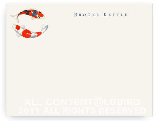 Double Koi - Flat Note cards