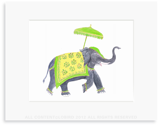 Festive Elephant � Green/Yellow - 8 x 10 Print in 11 x 14 Mat