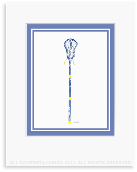 Blue Lacrosse Stick- 8 x 10 Print in 11 x 14 Mat