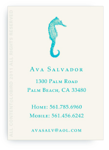 Seahorse - Turquoise -Calling Cards