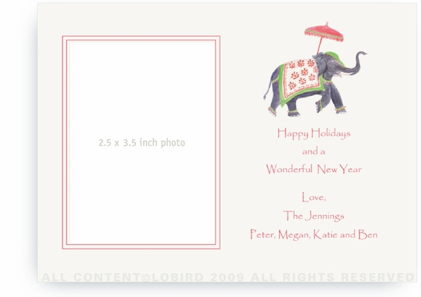 Festive Elephant Green & Red - Photo Greeting Cards