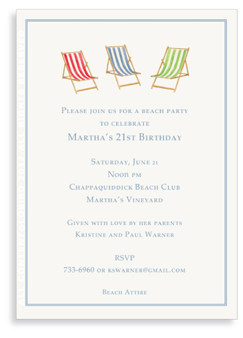 Beach Chairs-Blue-Red-Green -Invitations