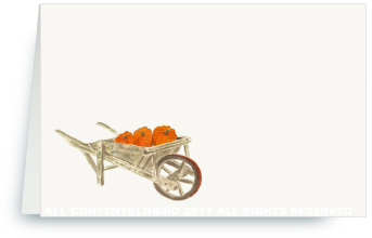 Pumpkins in Wheelbarrow - Place Cards