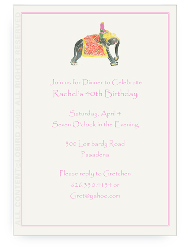 Princess Riding Elephant - Invitations