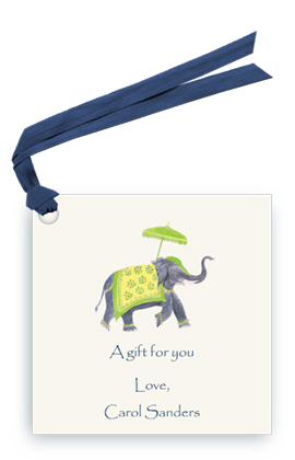 Festive Elephant - Lime/Yellow - Gift Tags