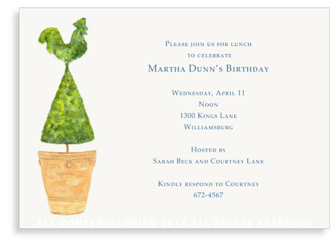 Terra Cotta Pot with  Rooster Topiary -Invitations