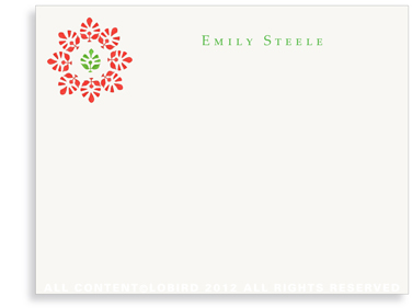 Block Print Flower - Green/Red - Flat Note cards