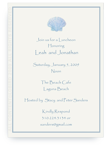 Blue Scallop Sea Shell - Invitations