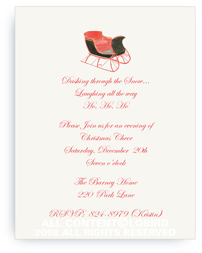 One Horse Sleigh - Holiday Invitations
