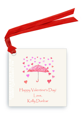Zebra Umbrella - Raining Hearts - Gift Tags